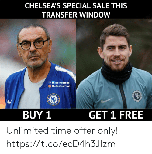 Memes, Free, and Time: CHELSEA'S SPECIAL SALE THIS  TRANSFER WINDOW  f阐TrollFootball  TheFootballTroll  BUY 1  GET 1 FREE Unlimited time offer only!! https://t.co/ecD4h3JIzm