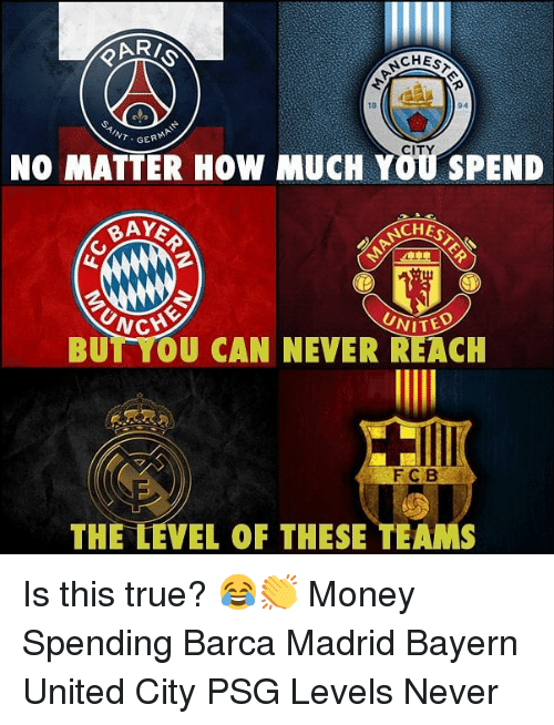 Memes, Money, and True: CHES  18  94  GERMA  NO MATTER HOW MUCH YOU SPEND  CITY  BAY  CHES  CHE  BUT YOU CAN NEVER REACH  VITED  妲;  F C B  THE LEVEL OF THESE TEAMS Is this true? 😂👏 Money Spending Barca Madrid Bayern United City PSG Levels Never