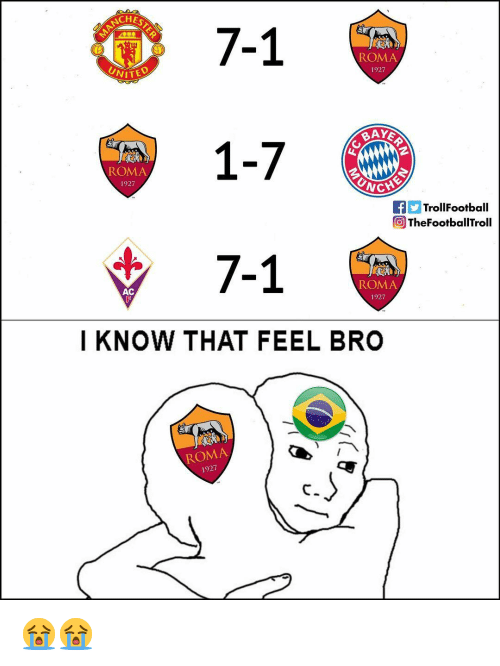Memes, 🤖, and Roma: CHES  7-1  1  7-1  ROMA  1927  Nifty  BAYE  ROMA  1927  TrollFootball  TheFootballTroll  ROMA  1927  AC  I KNOW THAT FEEL BRO  ROMA  1927 😭😭