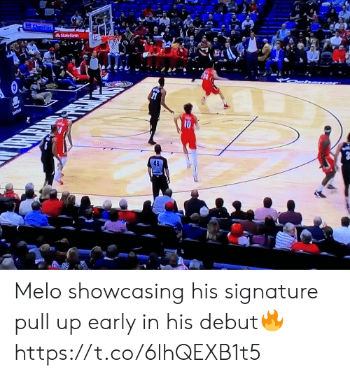 melo: Chevron  StateFarm  10  48 Melo showcasing his signature pull up early in his debut🔥 https://t.co/6lhQEXB1t5