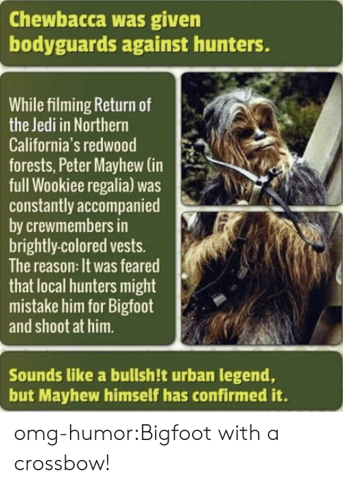 crossbow: Chewbacca was given  bodyguards against hunters.  While filming Return of  the Jedi in Northern  California's redwood  forests, Peter Mayhew (in  full Wookiee regalia) was  constantly accompanied  by crewmembers in  brightly-colored vests.  The reason: It was feared  that local hunters might  mistake him for Bigfoot  and shoot at him.  Sounds like a bullsh!t urban legend,  but Mayhew himself has confirmed it. omg-humor:Bigfoot with a crossbow!