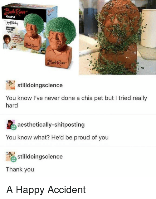 Thank You, Happy, and Proud: Chia Pet  PLANTER  stilldoingscience  You know I've never done a chia pet but I tried really  hard  aesthetically-shitposting  You know what? He'd be proud of you  stilldoingscience  Thank you A Happy Accident