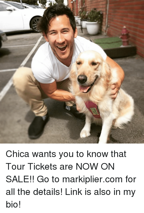 Dank, Link, and All The: Chica wants you to know that Tour Tickets are NOW ON SALE!! Go to markiplier.com for all the details! Link is also in my bio!