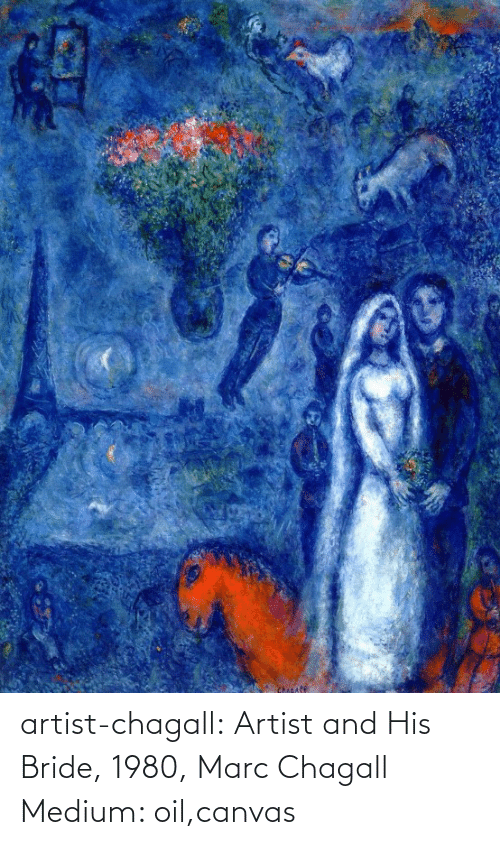 oil: Chicafe artist-chagall: Artist and His Bride, 1980, Marc Chagall Medium: oil,canvas