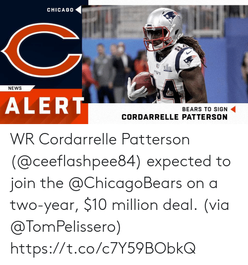 chicagobears: CHICAG0  CIT  ALERT  NEWS  BEARS TO SIGN  CORDARRELLE PATTERSON WR Cordarrelle Patterson (@ceeflashpee84) expected to join the @ChicagoBears on a two-year, $10 million deal.  (via @TomPelissero) https://t.co/c7Y59BObkQ