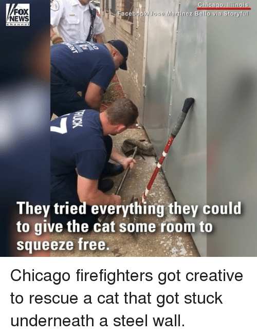 Chicago, Memes, and News: Chicago, Ilinois  Jose Martinez Bello via Storyful  FOX  NEWS  ace  They tried everything they could  to give the cat some room to  Squeeze free Chicago firefighters got creative to rescue a cat that got stuck underneath a steel wall.