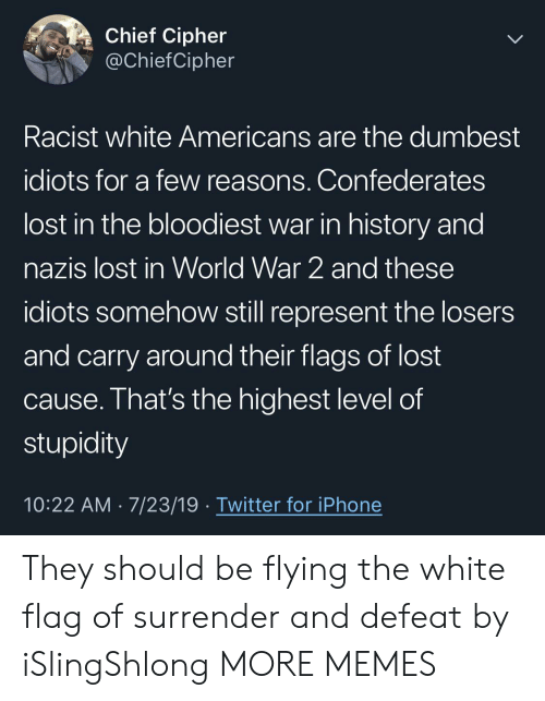 Chief: Chief Cipher  @ChiefCipher  Racist white Americans are the dumbest  idiots for a few reasons. Confederates  lost in the bloodiest war in history and  nazis lost in World War 2 and these  idiots somehow still represent the losers  and carry around their flags of lost  cause. That's the highest level of  stupidity  10:22 AM 7/23/19 Twitter for iPhone They should be flying the white flag of surrender and defeat by iSlingShlong MORE MEMES