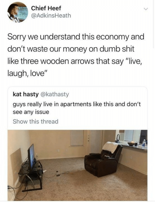 "Dank, Dumb, and Love: Chief Heef  @AdkinsHeath  Sorry we understand this economy and  don't waste our money on dumb shit  like three wooden arrows that say ""live,  laugh, love""  kat hasty @kathasty  guys really live in apartments like this and don't  see any issue  Show this thread"