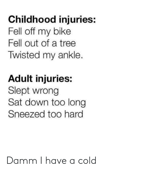 sat: Childhood injuries:  Fell off my bike  Fell out of a tree  Twisted my ankle.  Adult injuries:  Slept wrong  Sat down too long  Sneezed too hard Damm I have a cold