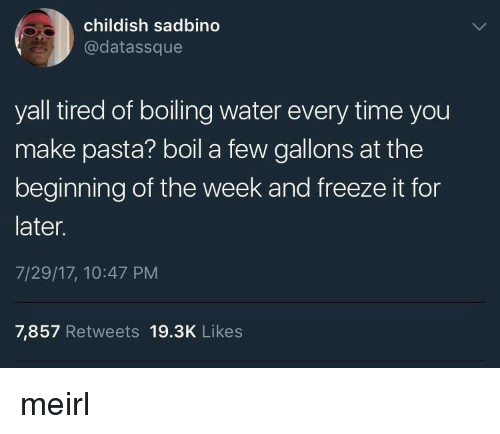 Time, Water, and Childish: childish sadbino  @datassque  yall tired of boiling water every time you  make pasta? boil a few gallons at the  beginning of the week and freeze it for  later.  7/29/17, 10:47 PM  7,857 Retweets 19.3K Likes meirl