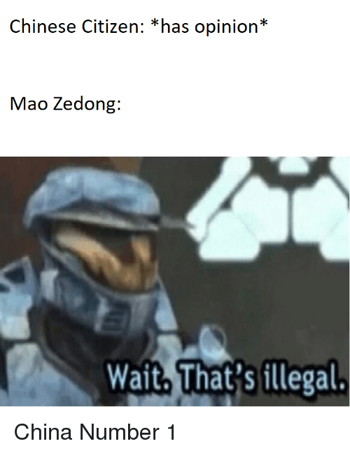 China, Chinese, and Mao: Chinese Citizen: *has opinion*  Mao Zedong:  Wait, That'sillegal. China Number 1