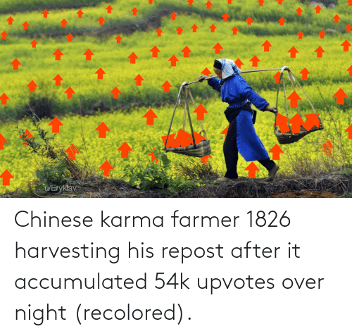 Harvesting: Chinese karma farmer 1826 harvesting his repost after it accumulated 54k upvotes over night (recolored).