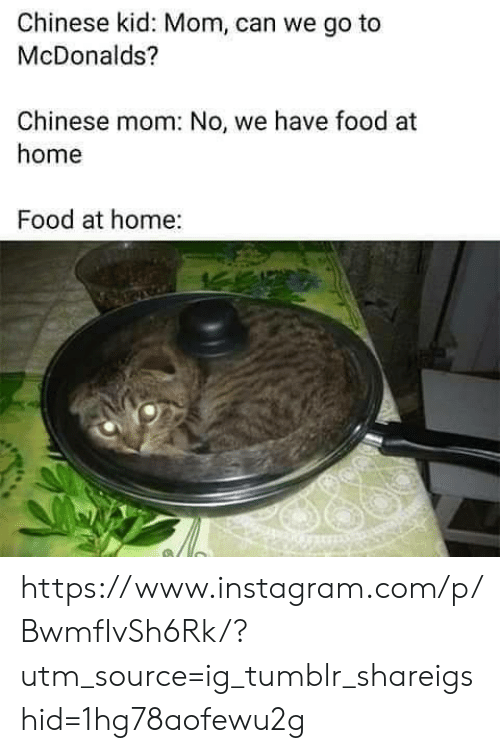 Food, Instagram, and McDonalds: Chinese kid: Mom, can we go to  McDonalds?  Chinese mom: No, we have food at  home  Food at home: https://www.instagram.com/p/BwmfIvSh6Rk/?utm_source=ig_tumblr_shareigshid=1hg78aofewu2g