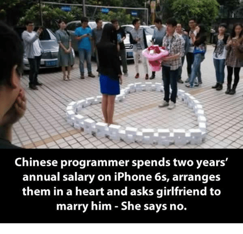 iphon: Chinese programmer spends two years  annual salary on iPhone 6s, arranges  them in a heart and asks girlfriend to  marry him She says no.