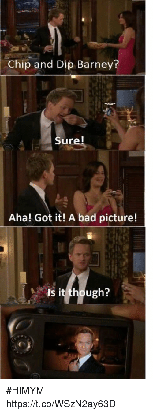 Barney: Chip and Dip Barney?  Sure!  Aha! Got it! A bad picture!  Is it though? #HIMYM https://t.co/WSzN2ay63D