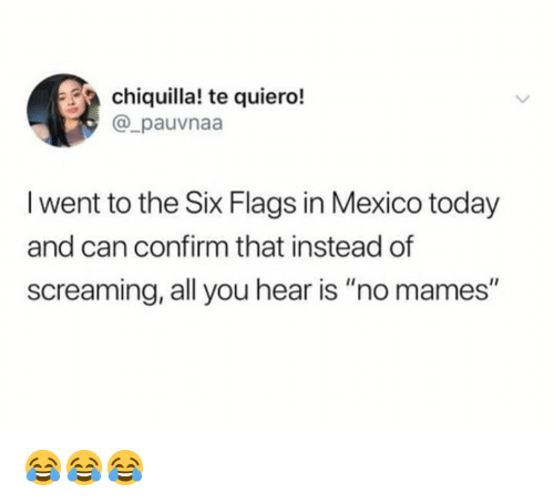 """Six Flags: chiquilla! te quiero!  @_pauvnaa  I went to the Six Flags in Mexico today  and can confirm that instead of  screaming, all you hear is """"no mames"""" 😂😂😂"""