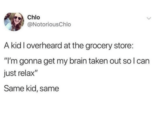 "Taken, Brain, and Can: Chlo  @NotoriousChlo  A kid I overheard at the grocery store:  ""I'm gonna get my brain taken out so I can  just relax""  Same kid, same"