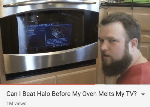 trigger: CHOOSE DIFFICULTY  EASY  NORMAL  HEROIC  GEHDARY  Hordes of allens vie to destrey  yobterves of steet and  us trigger finger glve yau a  elld chance to prevall  -BACK SELECT  Can I Beat Halo Before My Oven Melts My TV?  1M views