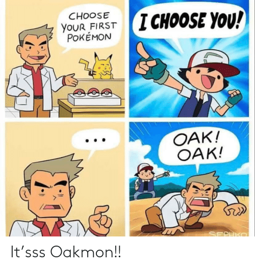 Pokemon: CHOOSE  I CHOOSE YOU!  YOUR FIRST  POKÉMON  OAK!  OAK!  SEPHKO It'sss Oakmon!!