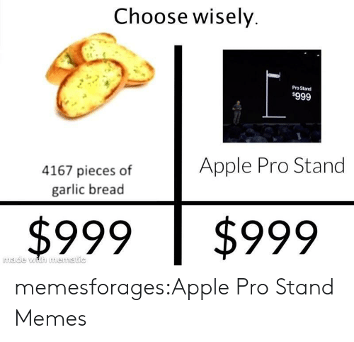 Choose Wisely: Choose wisely  Pro Stand  $999  Apple Pro Stand  4167 pieces of  garlic bread  $999  $999  made with mematic memesforages:Apple Pro Stand Memes