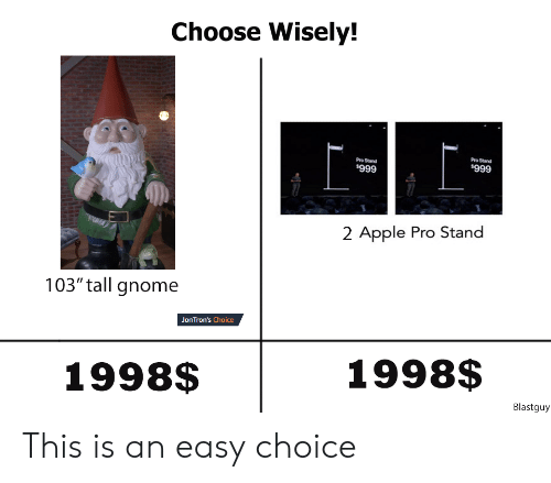 "Choose Wisely: Choose Wisely!  Pro Stand  Pro Stand  $999  $999  2 Apple Pro Stand  103"" tall gnome  JonTron's Choice  1998$  1998$  Blastguy This is an easy choice"