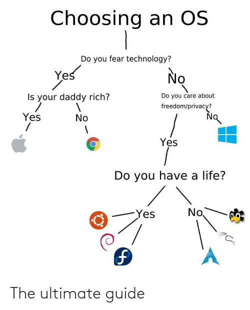 daddy: Choosing an OS  Do you fear technology?  Yes  No  Do you care about  Is your daddy rich?  freedom/privacy?  Yes  No  Yes  Do you have a life?  No  Yes  1. The ultimate guide