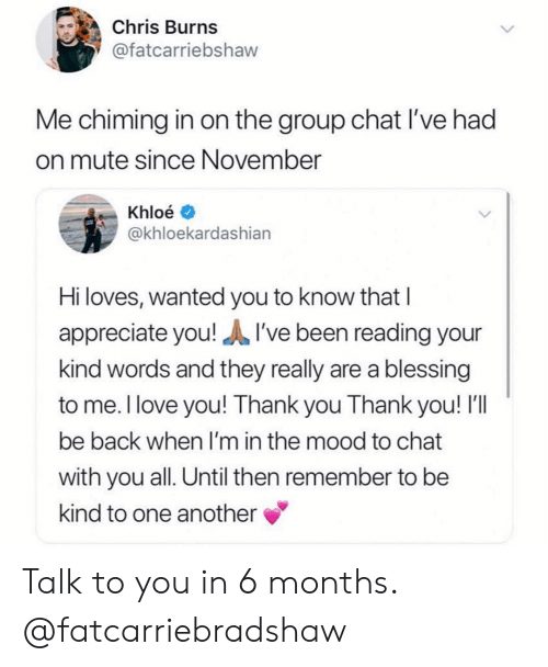 Group Chat, Love, and Mood: Chris Burns  @fatcarriebshaw  Me chiming in on the group chat I've had  on mute since November  Khloé  @khloekardashiarn  Hi loves, wanted you to know that I  appreciate you!I've been reading your  kind words and they really are a blessing  to me. l love you! Thank you Thank you! I'll  be back when I'm in the mood to chat  with you all. Until then remember to be  kind to one another Talk to you in 6 months. @fatcarriebradshaw