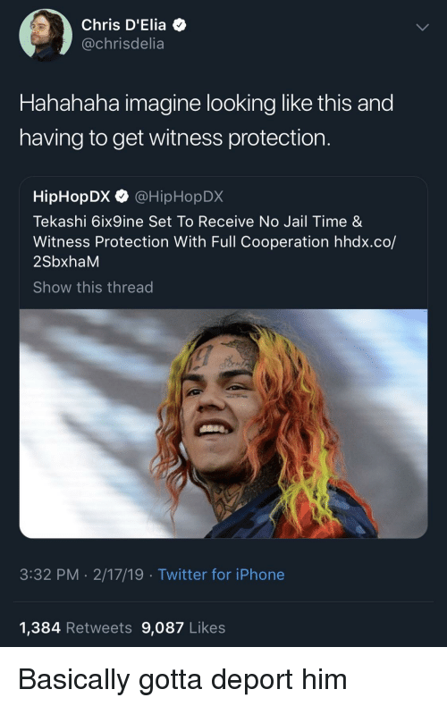 Blackpeopletwitter, Funny, and Iphone: Chris D'Elia  @chrisdelia  Hahahaha imagine looking like this and  having to get witness protection  HipHopDX @HipHopDX  Tekashi 6ix9ine Set To Receive No Jail Time &  Witness Protection With Full Cooperation hhdx.co/  2SbxhaM  Show this thread  3:32 PM 2/17/19 Twitter for iPhone  1,384 Retweets 9,087 Likes