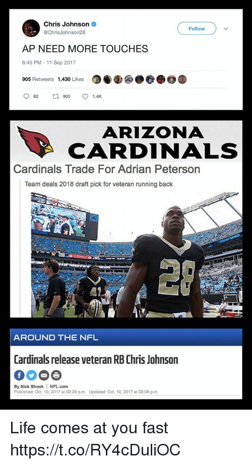 Arizona Cardinals: Chris Johnson  @ChrisJohnson28  Follow  AP NEED MORE TOUCHES  6:45 PM - 11 Sep 2017  905 Retweets  1,430 Likes  87  082  905  1.4K  ARIZONA  CARDINALS  Cardinals Trade For Adrian Peterson  Team deals 2018 draft pick for veteran running back  愿?  AROUND THE NFL  Cardinals release veteran RB Chris Johnson  By Nick Shook NFL.com  Published: Oct. 10, 2017 at 02:29 p.m. Updated: Oct. 10, 2017 at 03:06 p.m Life comes at you fast https://t.co/RY4cDuliOC