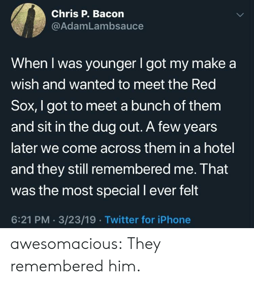 Iphone, Tumblr, and Twitter: Chris P. Bacon  @AdamLambsauce  When I was younger I got my make a  wish and wanted to meet the Red  Sox, I got to meet a bunch of them  and sit in the dug out. A few years  later we come across them in a hotel  and they still remembered me. Ihat  was the most special I ever felt  6:21 PM. 3/23/19.Twitter for iPhone awesomacious:  They remembered him.