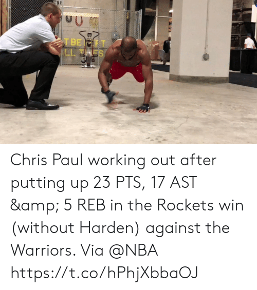 rockets: Chris Paul working out after putting up 23 PTS, 17 AST & 5 REB in the Rockets win (without Harden) against the Warriors.   Via @NBA   https://t.co/hPhjXbbaOJ