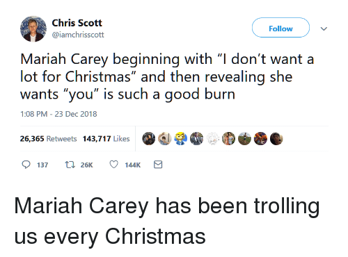 "Trolling: Chris Scott  @iamchrisscott  Follow  Mariah Carey beginning with ""l don't want a  lot for Christmas"" and then revealing she  wants ""you"" is such a good burn  1:08 PM-23 Dec 2018  증.  26,365 Retweets 143,717 Like  137 t 26K 144K Mariah Carey has been trolling us every Christmas"