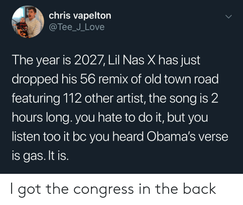 Love, Nas, and Old: chris vapelton  @Tee_J_Love  The year is 2027, Lil Nas X has just  dropped his 56 remix of old town road  featuring 112 other artist, the song is 2  hours long. you hate to do it, but you  listen too it bc you heard Obama's verse  is gas. It is. I got the congress in the back