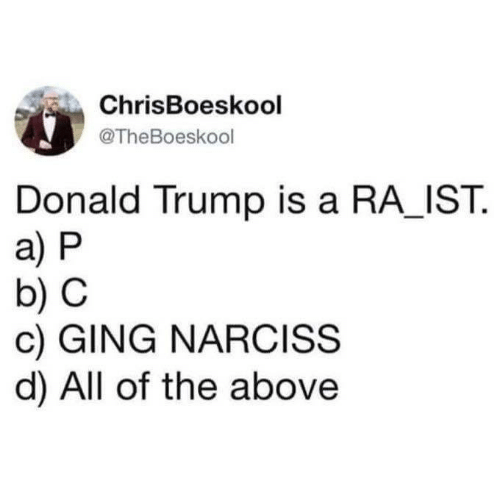 a&p: ChrisBoeskool  @TheBoeskool  Donald Trump is a RA_IST.  a) P  b) C  c) GING NARCISS  d) All of the above