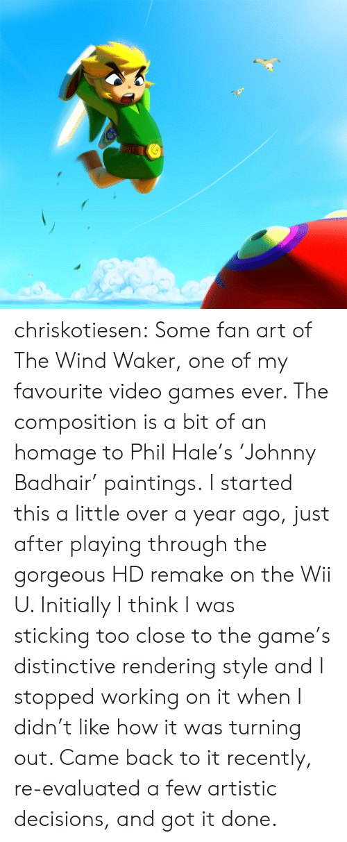 wind waker: chriskotiesen:  Some fan art of The Wind Waker, one of my favourite video games ever. The composition is a bit of an homage to Phil Hale's 'Johnny Badhair' paintings. I started this a little over a year ago, just after playing through the gorgeous HD remake on the Wii U. Initially I think I was stickingtoo close to the game's distinctive rendering style and I stopped working on it when I didn't like how it was turning out. Came back to it recently, re-evaluated a few artistic decisions, and got it done.