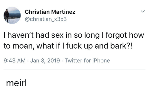 I Fuck: Christian Martinez  @christian_x3x3  I haven't had sex in so long I forgot how  to moan, what if I fuck up and bark?!  9:43 AM Jan 3, 2019 Twitter for iPhone meirl