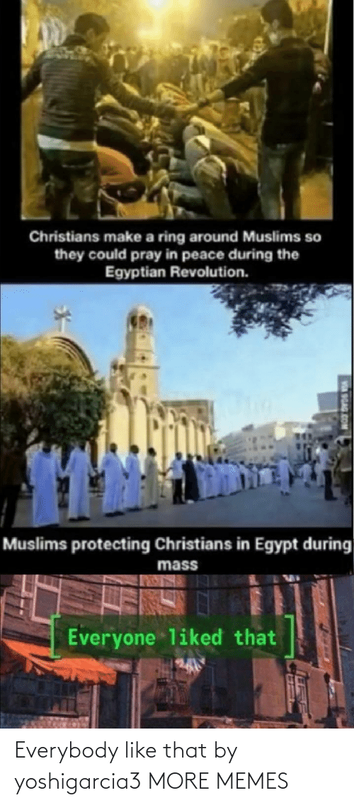 Egypt: Christians make a ring around Muslims so  they could pray in peace during the  Egyptian Revolution.  Muslims protecting Christians in Egypt during  mass  Everyone liked that  SGAG Everybody like that by yoshigarcia3 MORE MEMES