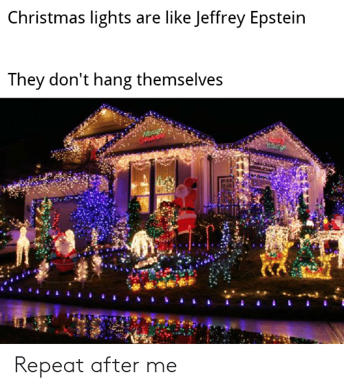 Repeat: Christmas lights are like Jeffrey Epstein  They don't hang themselves Repeat after me
