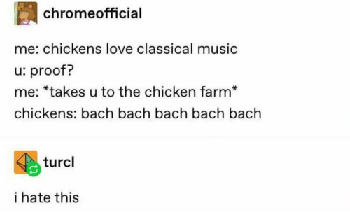 Chickens: chromeofficial  me: chickens love classical music  u: proof?  me: *takes u to the chicken farm*  chickens: bach bach bach bach bach  turcl  i hate this