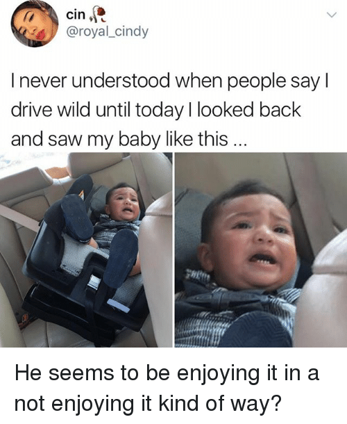 Sawing: cin  @royal_cindy  I never understood when people say l  drive wild until today I looked back  and saw my baby like this He seems to be enjoying it in a not enjoying it kind of way?