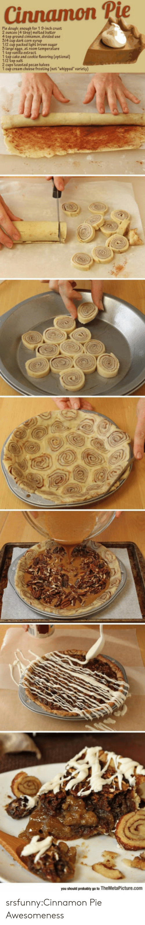 """cream cheese: Cinnamon P  Pie dough: enough for 1 9-inch crust  ) melted butter  4 top ground cinsamon, divided use  314 cup dark corn syrup  112 cup packed light brown sugar  1 tsp vanilla extract  1 tsp cake and cookie flavoring (optional)  1/2 tsp salt  2 cups toasted pecan halves  1 cup cream cheese frosting (not whipped"""" variety)  you should probably go to TheMetaPicture.com srsfunny:Cinnamon Pie Awesomeness"""