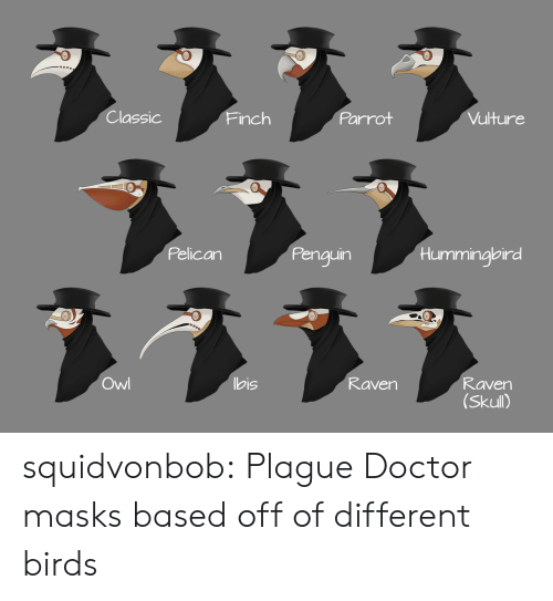 Skull: Classic  Parrot  Vulture  Finch  Pelican  Penguin  Hummingbird  ヌ331  Owl  bis  Raven  Raven  (Skull) squidvonbob:  Plague Doctor masks based off of different birds