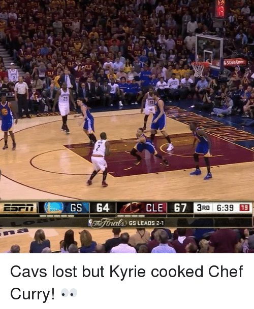 Chef Curry: CLE G7  als GS LEADS 2-1  3RD 6:39 13 Cavs lost but Kyrie cooked Chef Curry! 👀