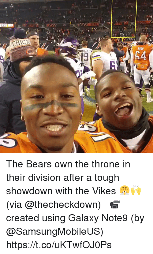 Showdown: CLEN  USH The Bears own the throne in their division after a tough showdown with the Vikes 😤🙌 (via @thecheckdown) | 📹 created using Galaxy Note9 (by @SamsungMobileUS) https://t.co/uKTwfOJ0Ps
