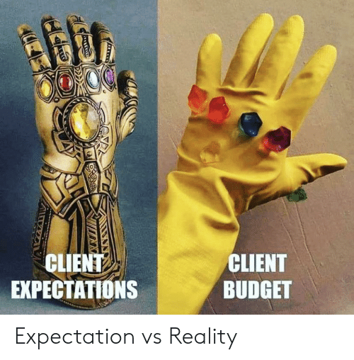 Vs Reality: CLIENT  EXPECTATIONS  CLIENT  BUDGET Expectation vs Reality