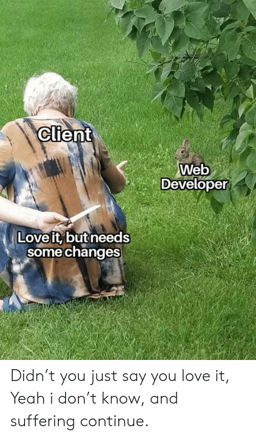 Love, Yeah, and Suffering: Client  Web  Developer  Love it, but needs  some changes Didn't you just say you love it, Yeah i don't know, and suffering continue.