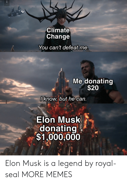 Donating: Climate  Change  You can't defeat me.  Me donating  $20  I know, but he can.  Elon Musk  donating  $1,000,000 Elon Musk is a legend by royal-seal MORE MEMES