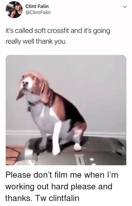 Memes, Working Out, and Thank You: Clint Falin  @ClintFalin  it's called soft crossfit and it's going  really well thank you Please don't film me when I'm working out hard please and thanks. Tw clintfalin