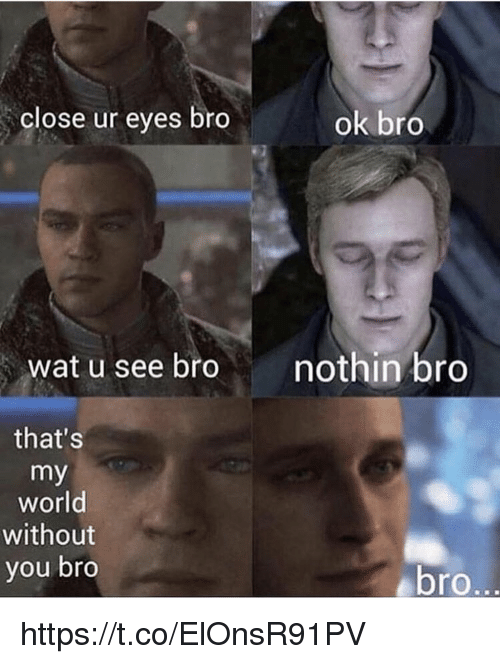 Memes, Wat, and World: close ur eyes bro  ok bro  wat u  see bro  nothin bro  that's  my  world  without  you bro  ebro https://t.co/ElOnsR91PV