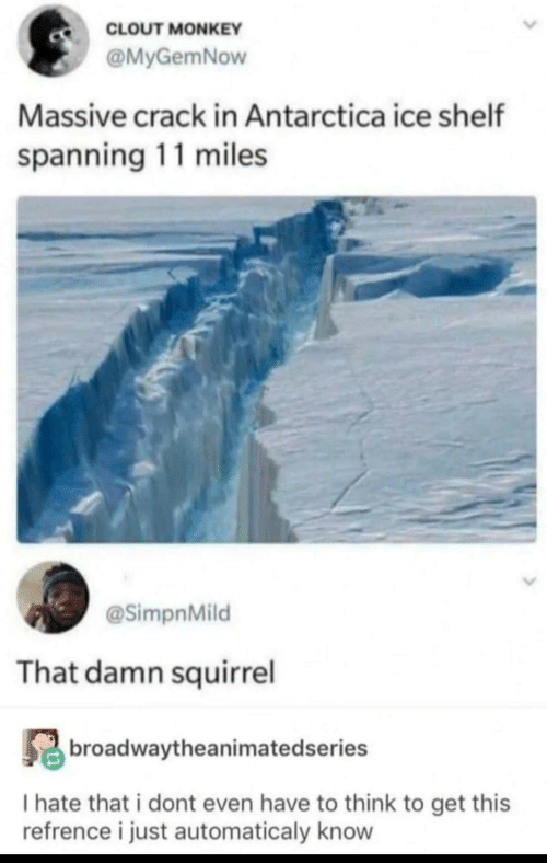 Shelf: CLOUT MONKEY  @MyGemNow  Massive crack in Antarctica ice shelf  spanning 11 miles  @SimpnMild  That damn squirrel  broadwaytheanimatedseries  I hate that i dont even have to think to get this  refrence i just automaticaly know